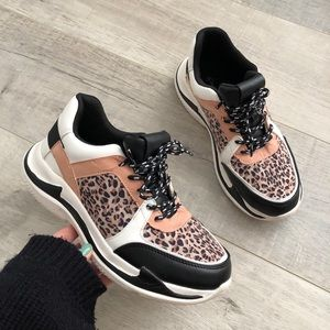 Qupid   Leopard Print Chunky Sneakers